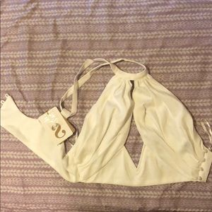 White 100%  polyester crop top